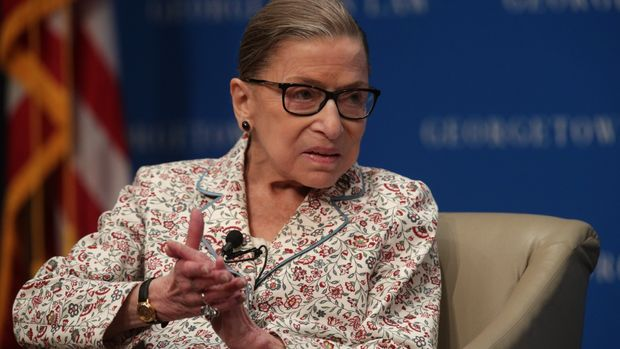 "WASHINGTON, DC - JULY 02:  U.S. Supreme Court Associate Justice Ruth Bader Ginsburg participates in a discussion at Georgetown University Law Center July 2, 2019 in Washington, DC. The Georgetown University Law Center's Supreme Court Institute held a discussion on ""U.S. Supreme Court Justice Ruth Bader Ginsburg: A Legacy of Gender Equality in Life and Law."" (Photo by Alex Wong/Getty Images)"