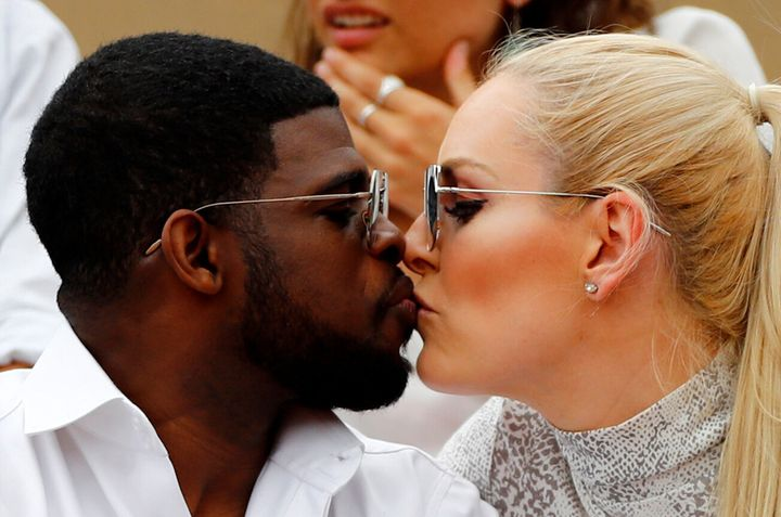 The couple steal a kiss at the French Open in June 2019 [Insert joke here about the score being love-love].