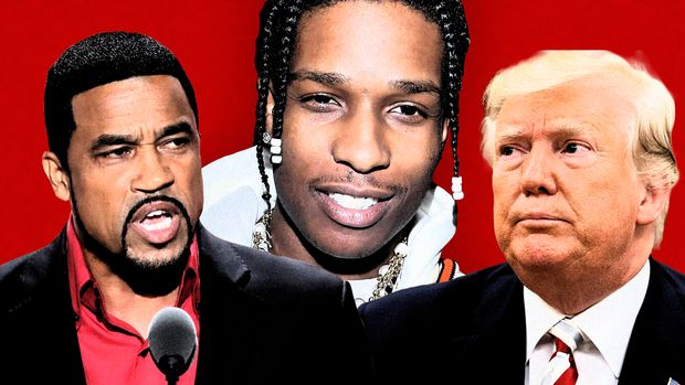 Pastor Darrell Scott, A$AP Rocky and President Trump. (Photo illustration: Yahoo News; photos: J. Scott Applewhite/AP, Victor Boyko/Getty Images, AP)