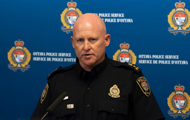 Interim Ottawa Police Chief Steve Bell speaks about the bus crash investigation during a news conference...
