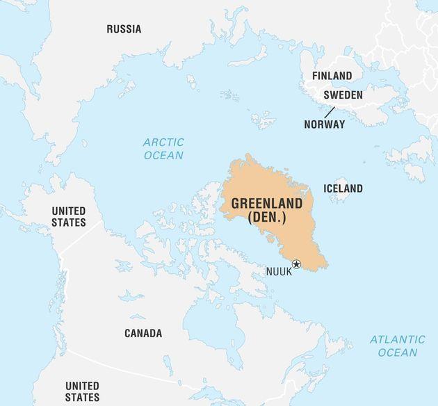 北米大陸から見たグリーンランドの位置