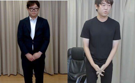 감스트가 자숙 전 사과하는 모습(왼쪽), 자숙 후 방송 복귀