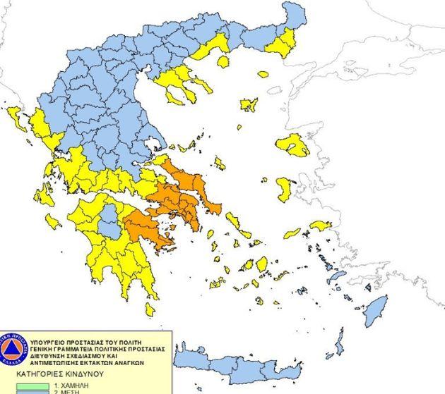 Χάρτης Πρόβλεψης Κινδύνου Πυρκαγιάς: Πολύ υψηλός ο κίνδυνος και για την