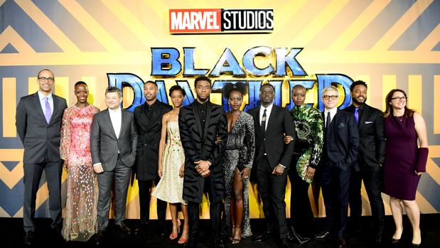 The cast and crew of Black Panther attending The Black Panther European Premiere at The Eventim Apollo Hammersmith London. (Photo by Ian West/PA Images via Getty Images)
