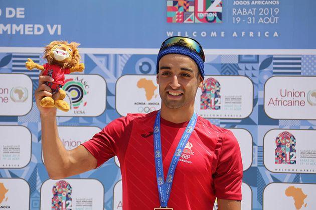 Un des vainqueur marocain à l'épreuves du Triathlon vendredi 24 août