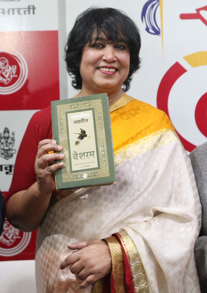 Bangladeshi-Swedish author, Taslima Nasrin poses for a photograph during the launch of her book, Besharam at World Book Fair in New Delhi.