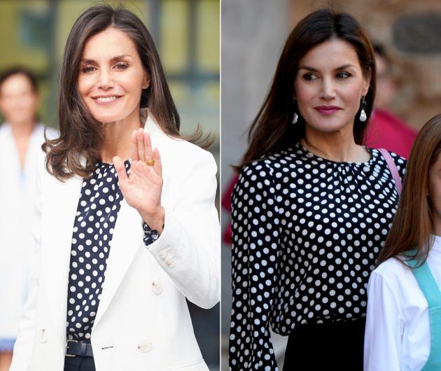 La reina Letizia en la Quirónsalud de Madrid, en agosto de 2019, y en la misa de Pascua en Palma,...