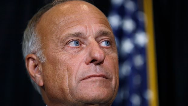 """U.S. Rep. Steve King, R-Iowa, listens to a question during a news conference, Friday, Aug. 23, 2019, in Des Moines, Iowa. King affirmed his belief that abortion should be outlawed with no exceptions for rape or incest. King faced criticism for his comment Aug. 14 that questioned whether there would be """"any population of the world left"""" if not for births due to rape and incest. (AP Photo/Charlie Neibergall)"""