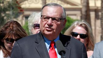 Former Arizona Sheriff Joe Arpaio speaks Tuesday, May 22, 2018, at the Capitol in Phoenix prior to turning in petition signatures to the Arizona Secretary of State in his bid to appear on the ballot in the race to succeed retiring U.S. Sen. Jeff Flake. The Republican lawman's campaign says it turned in 10,000 signatures on Tuesday so he can compete in the GOP primary on Aug. 28. (AP Photo/Matt York)