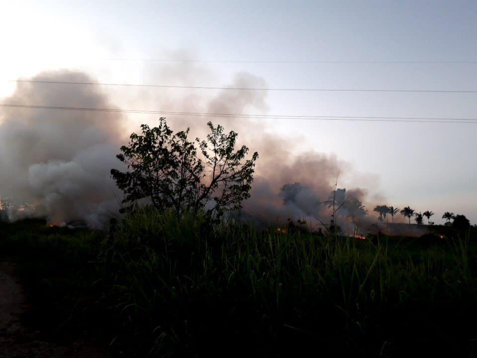 Terreno com focos de incêndio na altura do distrito de Medicilândia, às margens da