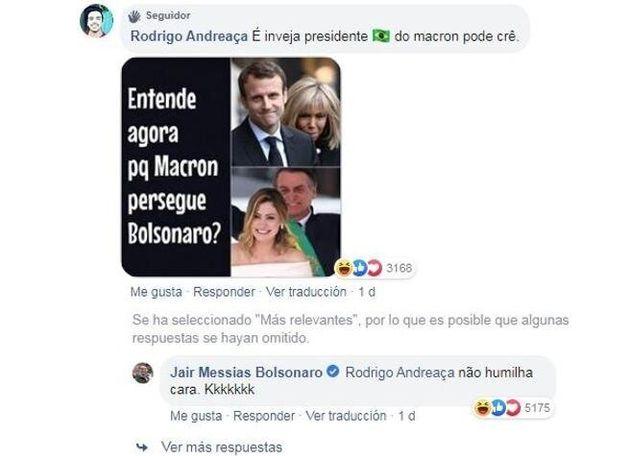 Bolsonaro se mofa de Brigitte Macron en