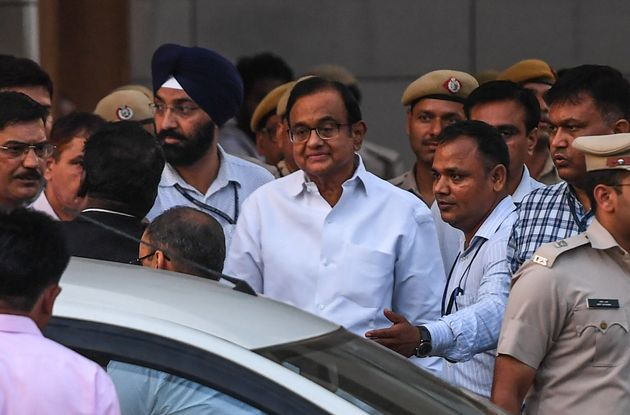 Ex-finance minister P Chidambaram leaves a court in New Delhi on August 22,