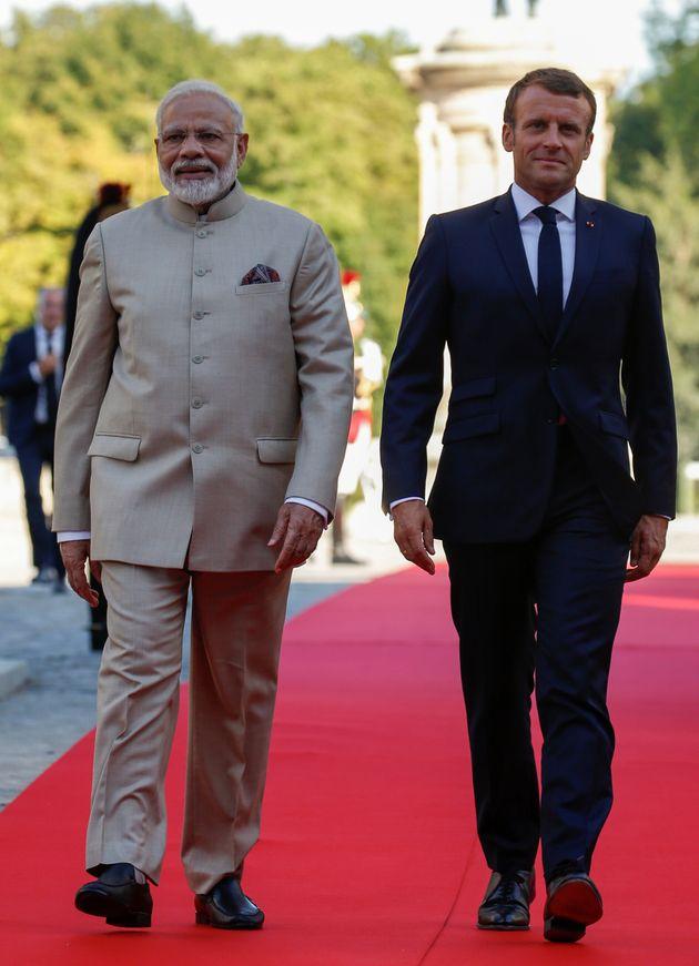 Emmanuel Macron a reçu le premier ministre Narendra Modi au château de Chantilly le 22 août