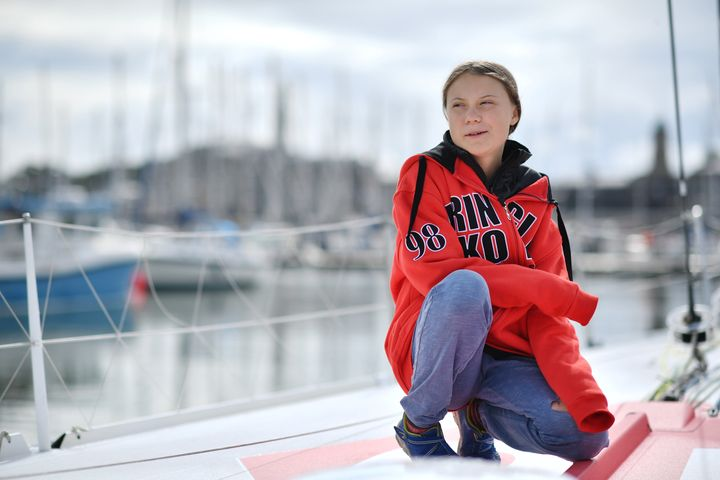 Swedish climate activist Greta Thunberg poses for a photograph during an inteview with AFP onboard the Malizia II sailing yacht at the Mayflower Marina in Plymouth, southwest England, on August 13, 2019 ahead of her journey across the Atlantic to New York where she will attend the UN Climate Action Summit next month. - A year after her school strike made her a figurehead for climate activists, Greta Thunberg believes her uncompromising message about global warming is getting through -- even if action remains thin on the ground. The 16-year-old Swede, who sets sail for New York this week to take her message to the United States, has been a target for abuse but sees that as proof she is having an effect. (Photo by Ben STANSALL / AFP)        (Photo credit should read BEN STANSALL/AFP/Getty Images)