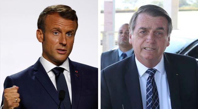 """Macron disse que brasileiros """"merecem um presidente que se comporte à altura"""" do"""