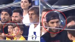 Il figlio di Messi esulta per il gol del Betis. La reazione è di Suarez è da ridere