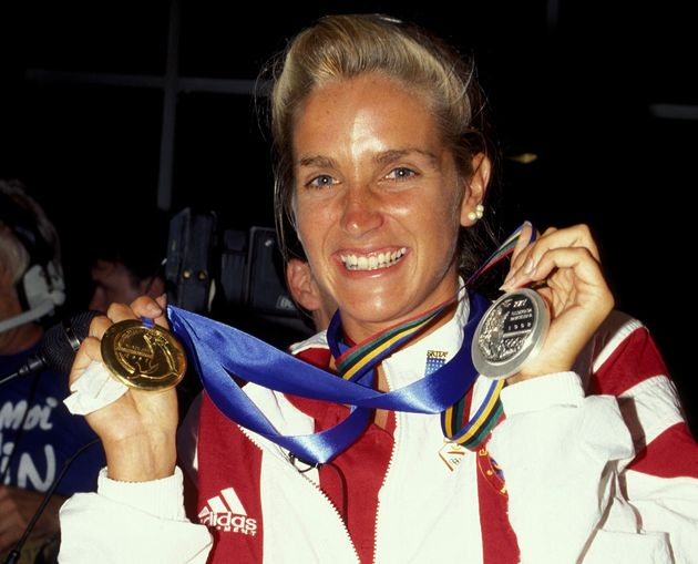 Sylvie Frechette is shown with her Olympic medals on Oct. 1,