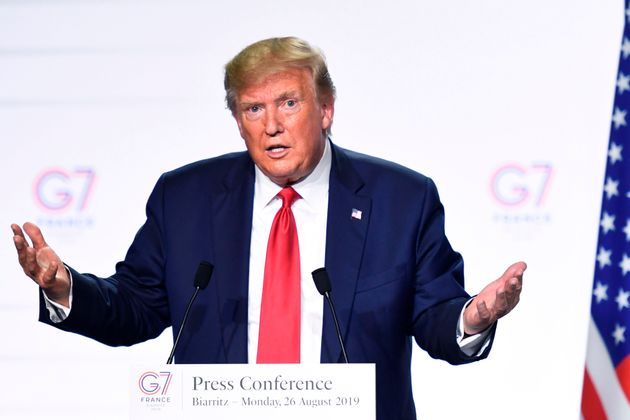 President Donald Trump appears at a press conference in Biarritz, France, on Aug. 26,