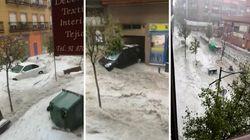 Carreteras cortadas tras las fuertes tormentas en la Comunidad de