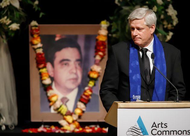 Former prime ministerStephenHarperdelivers remarks while attending a memorial celebrating...