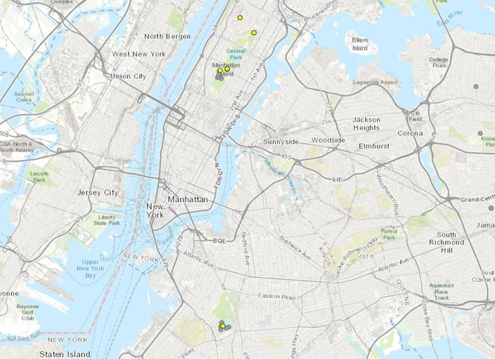 Harmful algal blooms, marked with yellow dots above, have been detected in Manhattan and Brooklyn, according to the New York