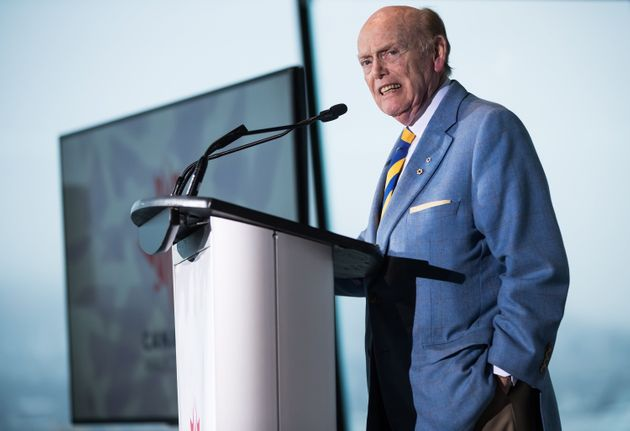 Businessman and philanthropist Jim Pattison speaks during a Canada's Walk of Fame ceremony honouring...