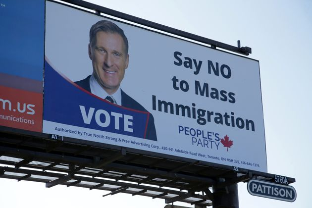 A billboard featuring the portrait of People's Party of Canada (PPC) leader Maxime Bernier and its message...