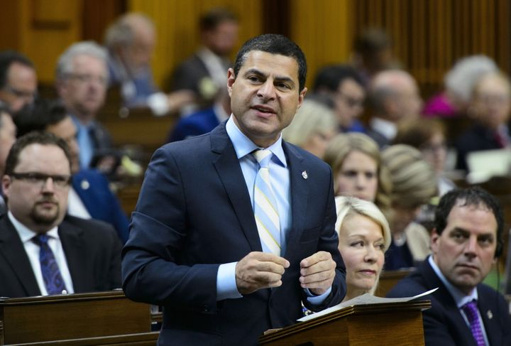 Conservative MP Alain Rayes stands during question period in the House of Commons on May 6, 2019.