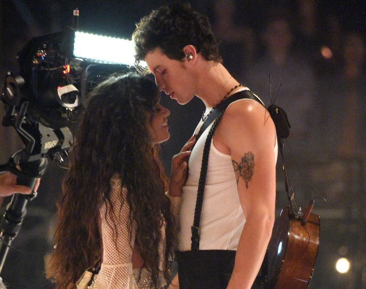 Camila Cabello and Shawn Mendes perform onstage during the 2019 MTV Video Music Awards on Monday.