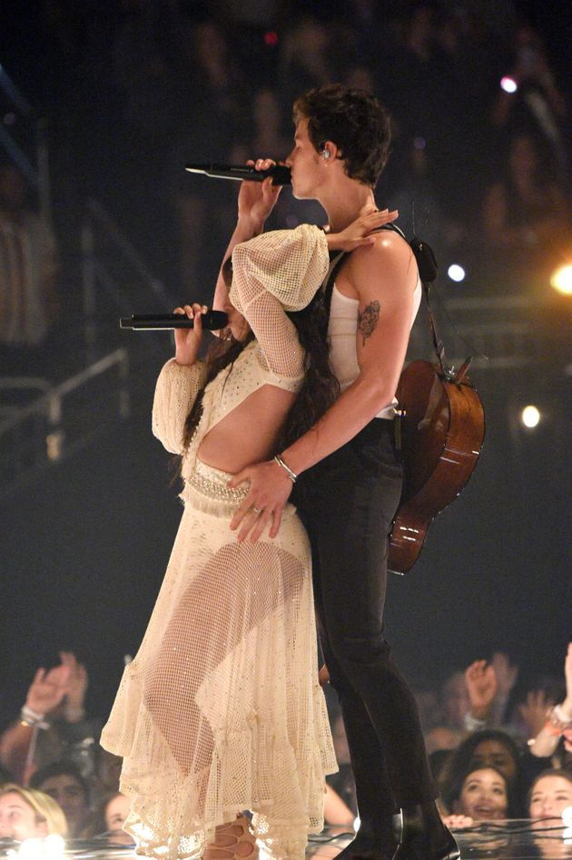 Camila Cabello and Shawn Mendes perform onstage during the 2019 MTV Video Music Awards on
