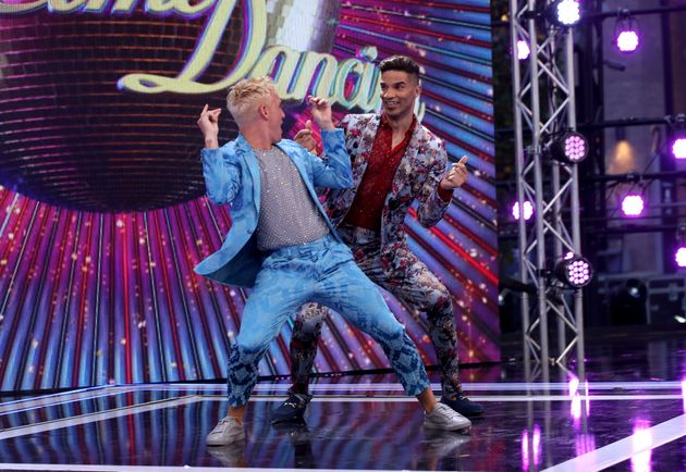 Jamie Laing and David James get their groove