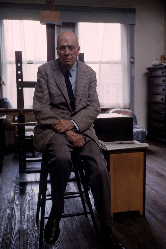 Portrait of painter Edward Hopper sitting on stool in his studio. (Photo by John Loengard/The LIFE Picture...
