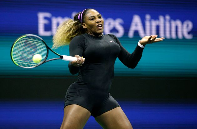 Serena Williams beat first round opponent Maria Sharapova in just 59 minutes, wearing a shortened black...