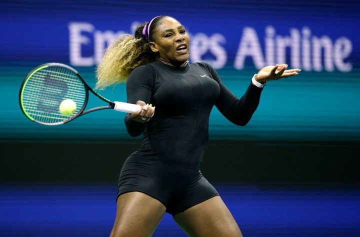 Serena Williams beat first round opponent Maria Sharapova in just 59 minutes, wearing a shortened black bodysuit that quickly