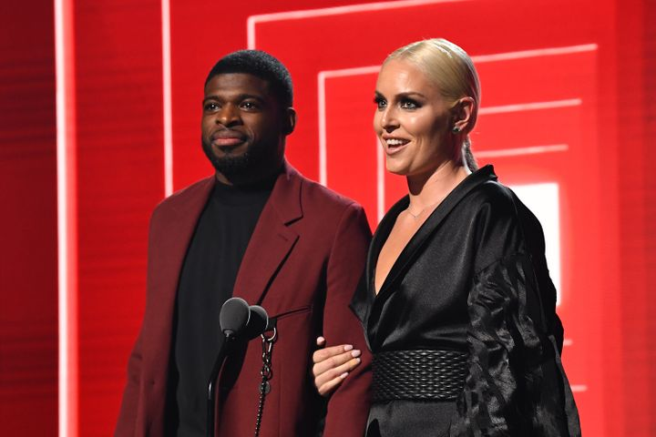 P.K. Subban and fiancée Lindsey Vonn at the 2019 MTV Video Music Awards.