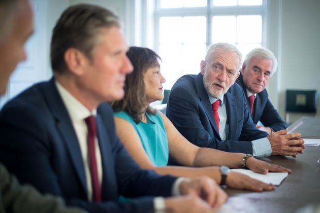 (left to right) Shadow chief whip Nick Brown, shadow Brexit Secretary Sir Kier Starmer, shadow leader...