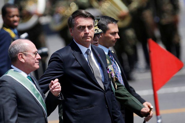 Brazil's President Jair Bolsonaro looks on during a Soldier's Day ceremony, in Brasilia, Brazil August 23, 2019. REUTERS/Adri