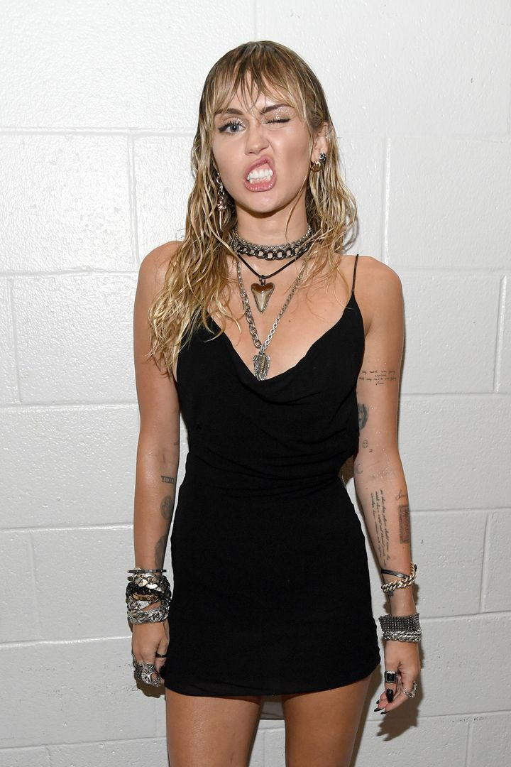 NEWARK, NEW JERSEY - AUGUST 26: Miley Cyrus backstage during the 2019 MTV Video Music Awards at Prudential Center on August 26, 2019 in Newark, New Jersey. (Photo by Kevin Mazur/WireImage)