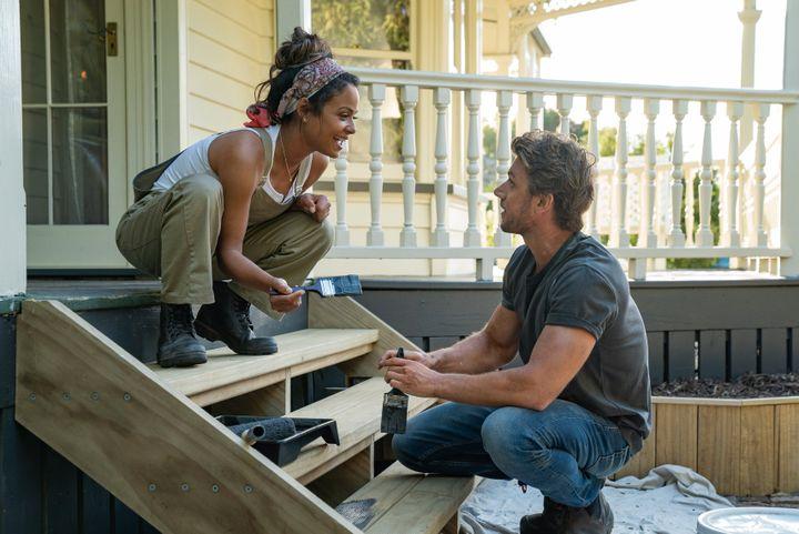 "Chirstina Milian and Adam Demos in ""Falling Inn Love"" on Netflix"