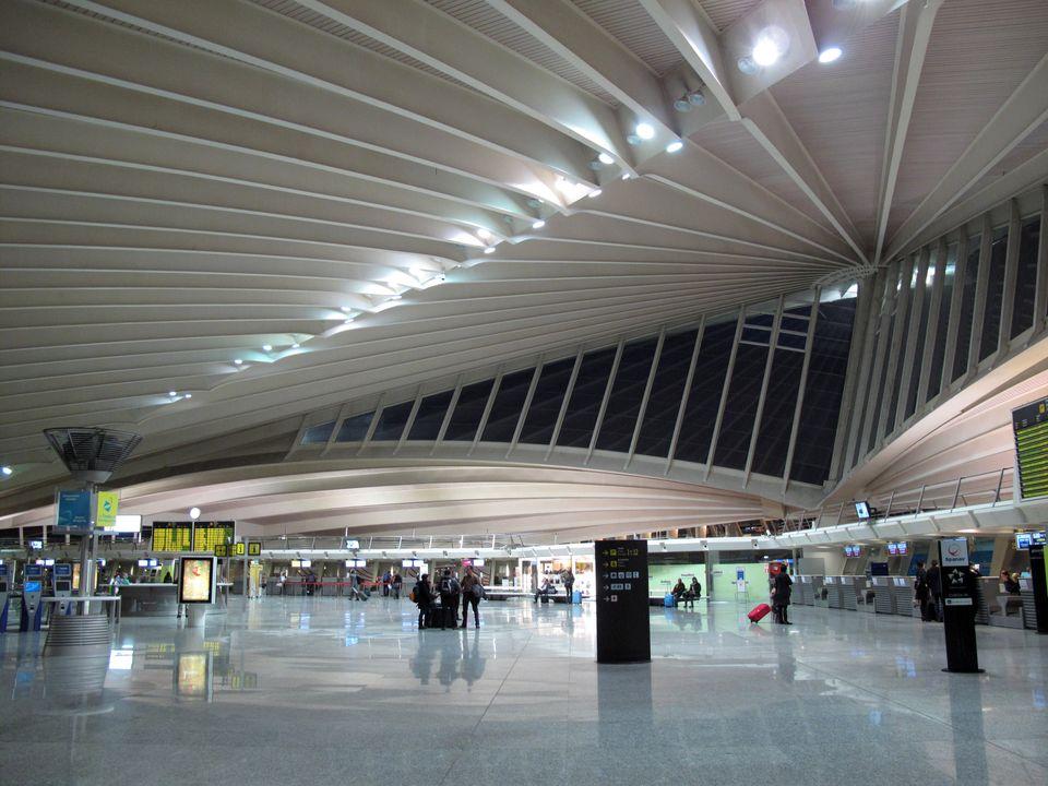 Interior of Airport of Loio, Bilbao, designed by Santiago Calatrava, Spain, january 2010. (Photo by Cristina...