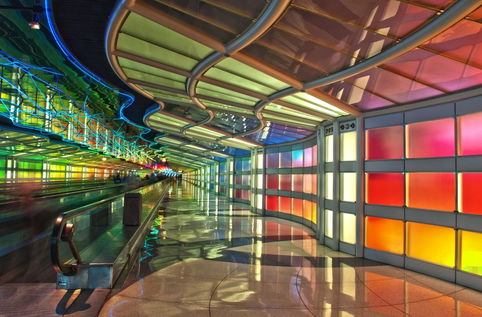 Passenger tunnel between two terminals under the air field at Chicago O'Hare Airport