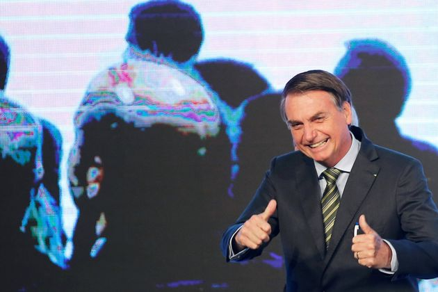 Brazil's President Jair Bolsonaro gestures during the Brazilian Steel Conference in Brasilia, Brazil...