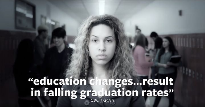 This quote, on an ad paid for by the Ontario Secondary School Teachers' Federation, is actually attributed to the federation's president in the original article on CBC News.
