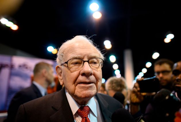 Warren Buffett, CEO of Berkshire Hathaway, speaks to the press as he arrives at the 2019 annual shareholders...