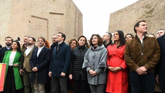 GRAF4982. MADRID, 10/02/2019.- El presidente de VOX, Santiago Abascal (2i), el líder del PP, Pablo Casado...