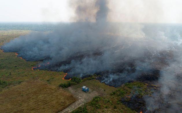 Visão aérea do desmatamento na Amazônia na altura de Porto Velho, capital de Rondônia.