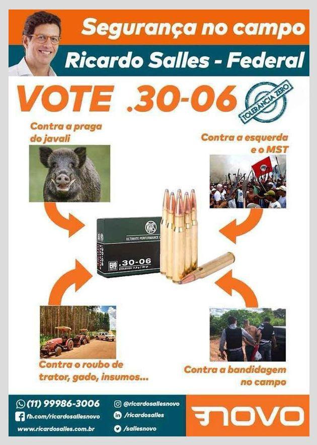 """No material de campanha do ano passado, Salles defendia o uso de armas de fogo contra javalis, """"a..."""