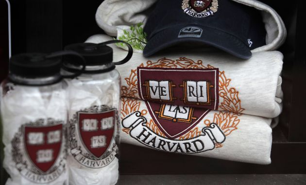 Harvard University logo items are displayed at a store in Cambridge, Mass., Tuesday, Aug. 13, 2019. (AP...