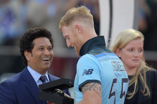 Sachin Tendulkar presents the man of the match award to Ben Stokes after England's victory in the 2019...