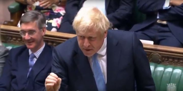 Prime Minister Boris Johnson issues a statement to the House of Commons in London.